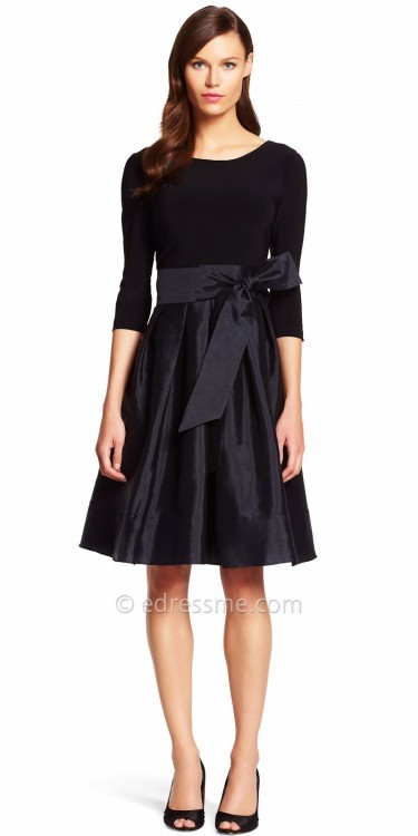 Adrianna PapellAdrianna Papell Three-Quarter Rhinestone Fit and Flare Bow Tie Cocktail Dress