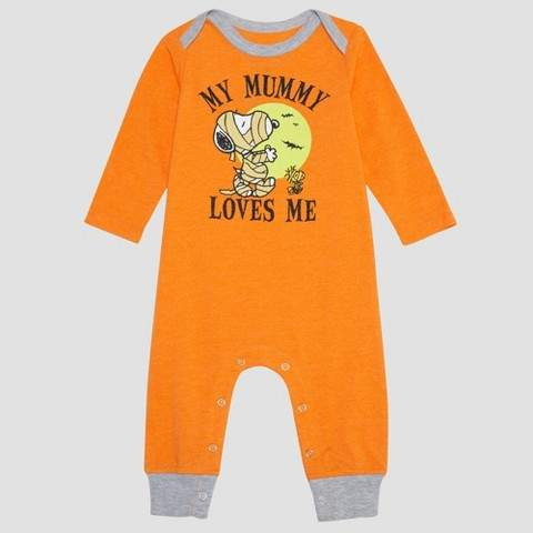 Peanuts Baby Boys' Peanuts Snoopy Long Sleeve Romper - Orange