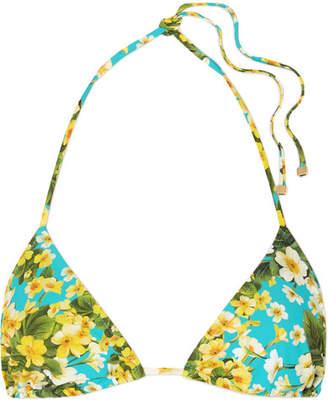 Dolce & Gabbana Floral-print Triangle Bikini Top - Light blue