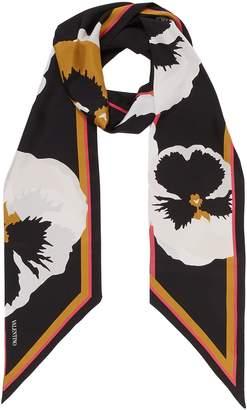 Valentino Pansy print silk twilly scarf