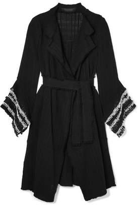 Roland Mouret Millington Fringed Woven Cotton Coat - Black