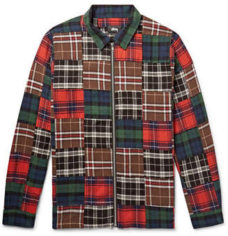 Stussy Patchwork Brushed Cotton-Flannel Zip-Up Overshirt