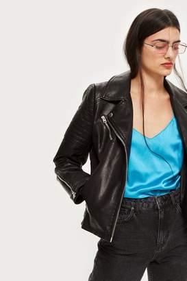 Topshop PETITE Black Polyurethane Biker Jacket