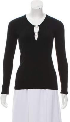 Dolce & Gabbana Embellished Rib Knit Top