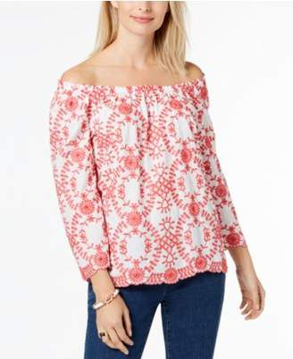 Charter Club Cotton Off-The-Shoulder Top, Created for Macy's