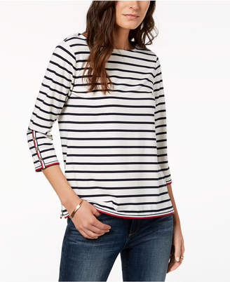 Tommy Hilfiger Striped Boat-Neck Top, Created for Macy's