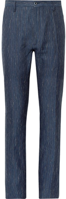 Zanella Navy Noah Slim-Fit Slub-Striped Linen and Cotton-Blend Trousers - Men - Blue