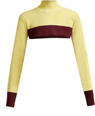 COLVILLE Cropped colour-block sweater