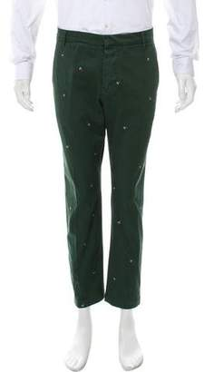 Band Of Outsiders Cropped Fly-Embroidered Pants