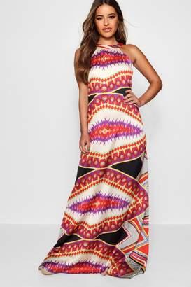 boohoo Petite Luxe bohemian Scarf Print Maxi Dress