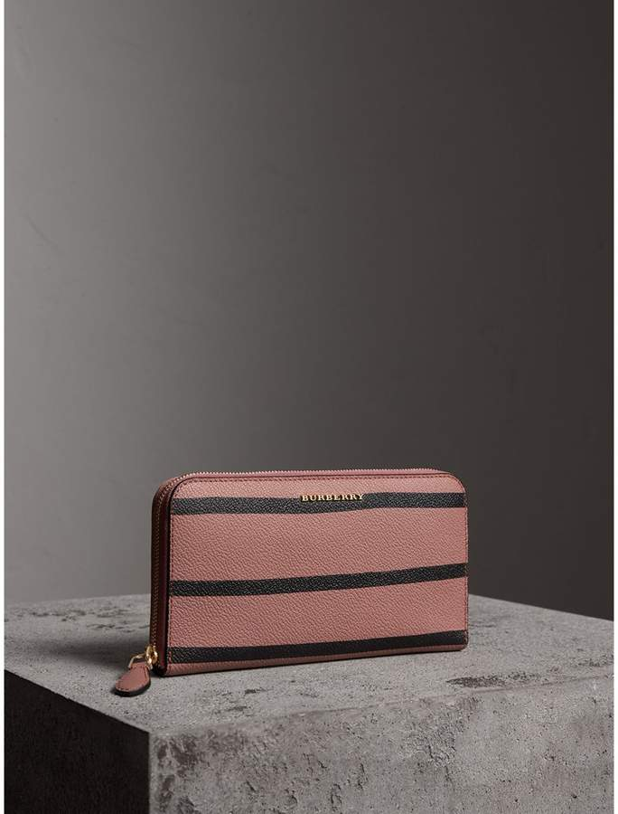 Burberry Trompe L'oeil Print Leather Ziparound Wallet