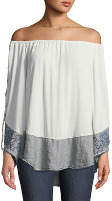 XCVI Off-the-Shoulder Lace-Up Sleeve Blouse with Linen Hem