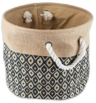 """DII Collapsible Burlap Storage Basket or Bin with Durable Cotton Handles, Home Organizational Solution for Office, Bedroom, Closet, Toys, & Laundry (Medium Round - 15x12""""), Black Ikat"""