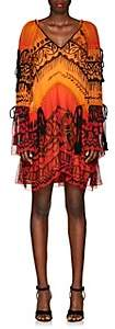 Alberta Ferretti Women's Abstract-Print Silk Chiffon Dress - Orange
