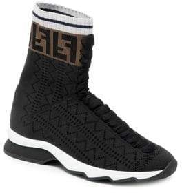 Fendi Rockoko High Top Knit Sneakers