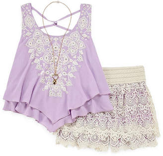 Knitworks Knit Works Lace Chiffon Tank and Crochet Short Set - Girls' 4-16 & Plus