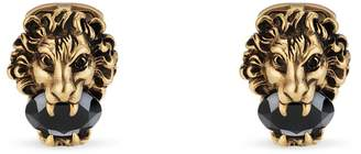Gucci Lion head cufflinks with crystals
