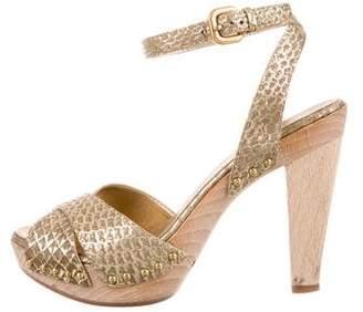 Prada Python Platform Sandals