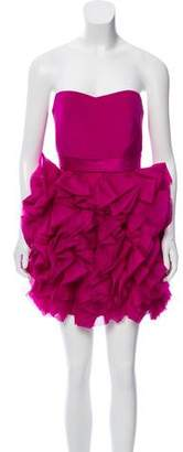 Marchesa Silk Ruffled Dress