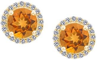Premier 7mm Gemstone & Diamond Halo Stud, 14K Yellow Gold
