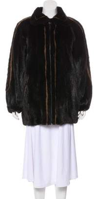 Oscar de la Renta Reversible Mink & Leather Coat
