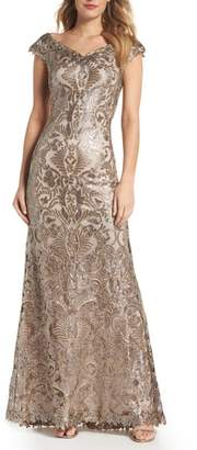 Tadashi Shoji Embroidered Sequin A-Line Gown
