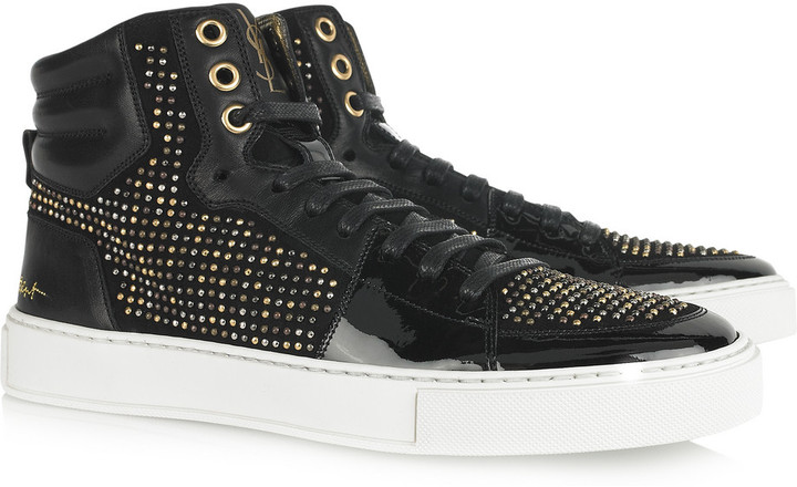 Yves Saint Laurent Studded suede and patent-leather high-top sneakers