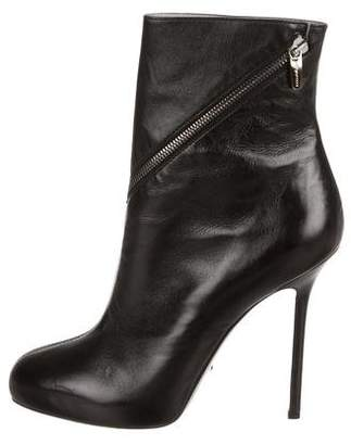 Sergio Rossi Leather Zip-Accented Boots