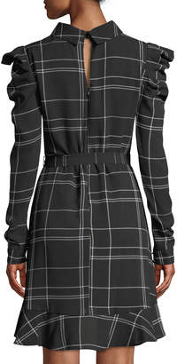 Julia Jordan Long-Sleeve Plaid Crepe Ruffle Fit-and-Flare Dress