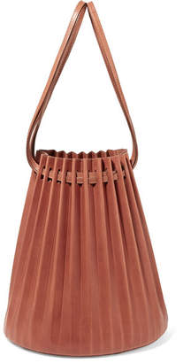 Mansur Gavriel Pleated Leather Bucket Bag - Tan