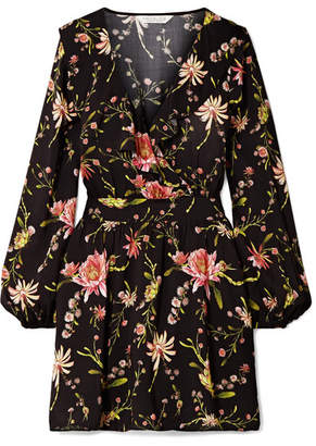 Rachel Zoe Drea Ruffled Floral-print Voile Mini Dress - Black