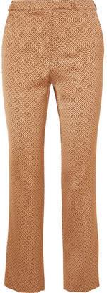 Etro Satin-jacquard Slim-leg Pants - Bronze
