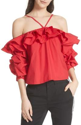 Joie Ruffled Cold Shoulder Top