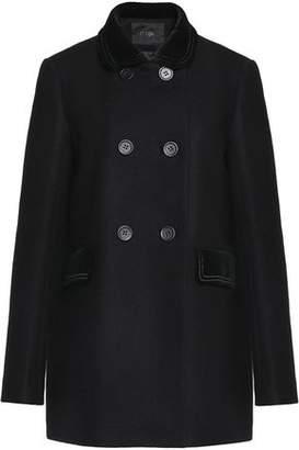 Maje Velvet-Trimmed Wool-Blend Felt Coat
