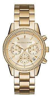 Michael Kors Women's Ritz Studded Yellow Goldtone Stainless Steel Chronograph Bracelet Watch MK6356