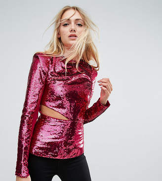 Asos Tall TALL Ultimate Sequin Top with Cut Out
