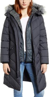 Bernardo Puffer Jacket with Faux Fur Trim