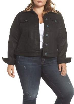 SLINK Jeans Coated Denim Jacket with Removable Faux Fur Collar (Plus Size)