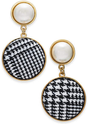 INC International Concepts I.N.C. Gold-Tone Imitation Pearl & Tweed Drop Earrings, Created for Macy's