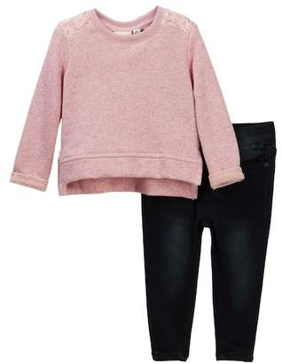 AG Jeans French Terry Heathered Pullover & Distressed Pants Set (Baby Girls)