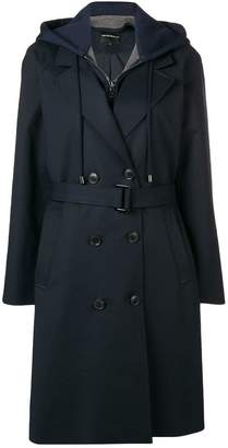 Emporio Armani hoodie layered trench coat