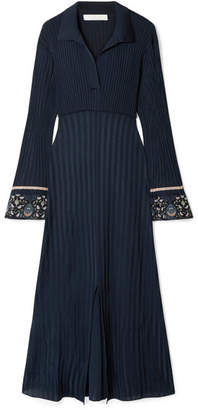 Chloé Printed Georgette-trimmed Ribbed Stretch-knit Midi Dress - Navy