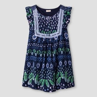 Cat & Jack Girls' Embroidered Floral Print Dress - Cat & Jack Navy $19.99 thestylecure.com