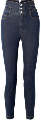 Dolce & Gabbana Crystal-embellished High-rise Straight-leg Jeans - Indigo