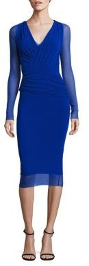 Fuzzi Long Sleeve Bust Ruched Bodycon Dress $425 thestylecure.com