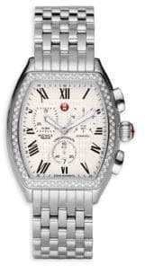Michele Relevé Diamond Bezel Stainless Steel Chronograph Watch