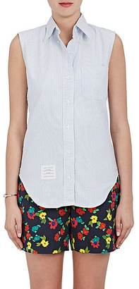 Thom Browne THOM BROWNE WOMEN'S STRIPED COTTON OXFORD CLOTH SLEEVELESS SHIRT $290 thestylecure.com