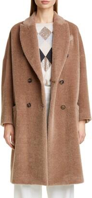 Brunello Cucinelli Double Breasted Alpaca Blend Coat