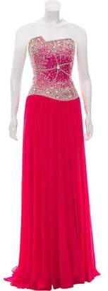 Terani Couture Embellished Strapless Dress