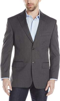 Haggar Men's Suit Jacket Textured Stripe Classic Fit 2 Button Single Breasted